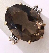 14k Yellow Gold 9.78TCW Smokey Brown Topaz & Diamond Accent Ring Size 6.5 4.4gr