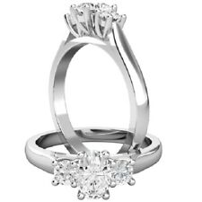 0.76 Ct Oval Cut Diamond Engagement Wedding Ring 18K Solid White Gold Size 5 6 8