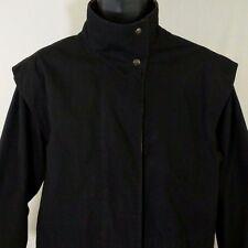 Carol Cohen Drizzle Coat Vtg Nordstrom Gallery Jacket Black Plaid Lining USA 10