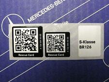 Genuine Mercedes Sticker Rescue Card QR-Code for W126 Sedan