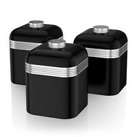 Swan Set Of 3 Tea Coffee Sugar Black Canisters Jar Kitchen Storage Containers