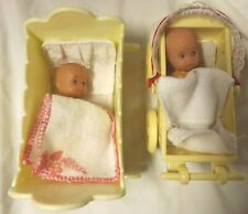 "Yellow Plastic Doll Cradle Simba Stroller Bedding Twin 3"" Dolls Lot 10"