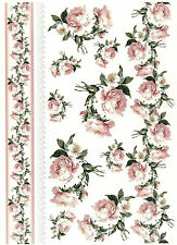 A/4 Soft Decoupage Paper Scrapbook Sheet Vintage Roses and Border