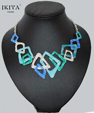 Luxus Statement Kette IKITA Paris Halskette Emaille Paillette Versilbert Collier