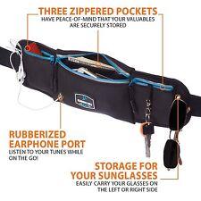 Running Belt (pouch) Waterproof – 3 Pockets w/ Reflective Zippers, Earphone Hole