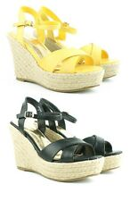 Ladies Womens High Wedge Summer Espadrilles Platform Strappy Sandals Shoes Size