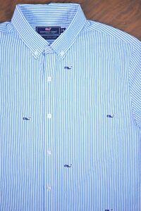 Vineyard Vines Seersucker Slim Performance Whale Shirt Blue Men's Medium M