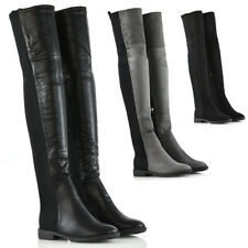 New Womens Stretch Leg Over The Knee Flat Heel Ladies Thigh High Winter Boots