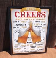 Cheers Beer Around The World Sign Tin Vintage Garage Bar Decor Old