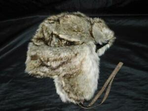 Eddie Bauer Brown Gray Faux Fur Trapper Hat Insulated Ear Flaps Aviator Cap OS