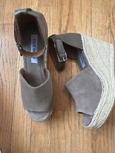 Steve Madden Jaylen Wedge Espadrille Leather Heel Taupe Slingback Shoes Sz 8