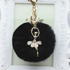 Gemma Black Dancing Angel Rhinestone  Pom Pom  Car Key chain Handbag Key Ring