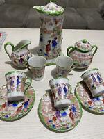 11pc Geisha Tea Set In Green , Tea Pot, Creamer, Sugar Bowl, Cups&saucers