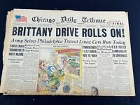 Brittany Drive Rolls On! Phila Transit 1944 Old Newspaper Chicago Tribune Aug 4