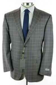 NWT Canali 1934 Light Brown Layered Check Wool Coat Jacket 46 R Modern Fit 56 EU