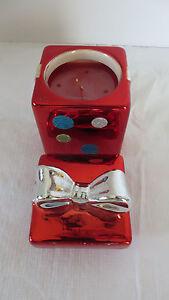 Christmas Ceramic Present Holder Cinnamon Sticks Candle