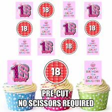 18th Daughter Girls Birthday Edible Cupcake Toppers Cake Decorations 12 Pack