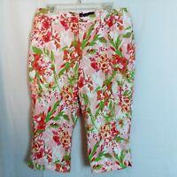 Gloria Vanderbilt Capris Size 16 Womens Amanda Colorful Floral Light Stretch