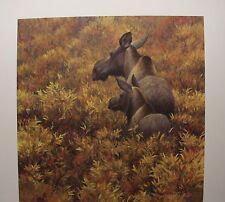 Robert BATEMAN Fall Forage Moose Cow and Calf LTD art print Artist Proof