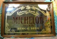 Vintage Michelob Anheuser-Busch Mirror Advertising Beer Sign Wood Frame 10-13-86
