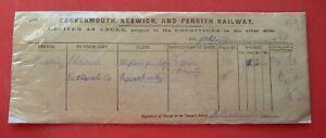 Cockermouth Keswick & Penrith Railway Goods Ticket 1920