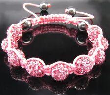 Shamballa Bracciale Cristallo Bling allo stato puro Pink Rosa Sfera portafortuna NUOVO