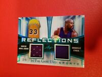 KAREEM ABDUL JABBAR & SHAQ SHAQUILLE O'NEAL GAME USED JERSEY CARD #d LEAF LAKERS