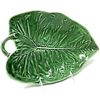 "Bordallo Pinhiero Portugal Pottery 12"" Sunflower Leaf Serving Platter Green"