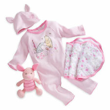 Authentic Disney Winnie the Pooh Piglet Baby Gift Set Plush Hat Bib for 3-6 Mths