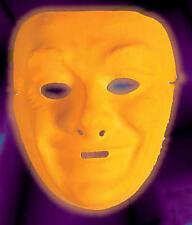 Neon Orange Plastic Face Mask Drama Theatrical Fancy Dress