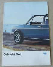 1986 VW GOLF CABRIOLET Catalogue Brochure Prospekt Dépliant French