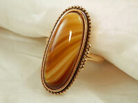 WOW Gorgeous Signed Avon Vintage Adj. Size Givre Glass Ring  56N4