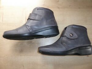 """Hotter """"Abbey"""" grey leather ladies ankle boots size 7.5 UK hook & loop strap"""