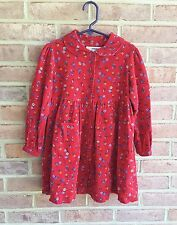 Girls Christie Brooks Long Sleeve Red Foral Dress, all cotton,  size 4 years