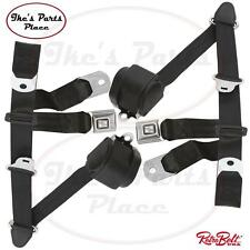 RetroBelt Black 3-Point Front Bench Seat Belts w/Retractors-PAIR 73-91 GM Trucks