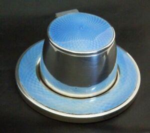 Rare Antique Solid Silver Guilloche Enamel Inkwell Art Deco Birmingham 1927