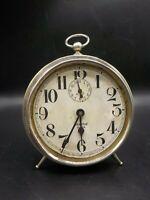 Antique 1910's Westclox Big Ben Peg Leg Nickel Plate Alarm Clock Decor or Repair