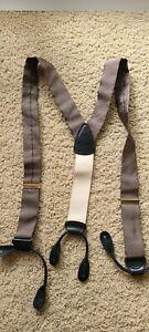 Trafalgar Brown/Gold Silk/Leather Fleur-de-lis Suspenders Braces