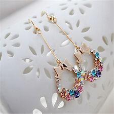 Fashion Women Lady Elegant Crystal Rhinestone Color Random Hook Dangle Earrings