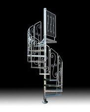 "SPIRAL STAIRCASE mod. ""ASGAARD"" - GALVANIZED STEEL - Wrought iron handrails - UK"