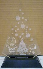 Peanuts Tree Shaped Acrylic Etched Christmas Trophy Snoopy Charlie Brown