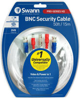 Swann 15m White CCTV BNC Camera Cable (50ft) | Video & Power | White