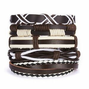 5pcs Fashion Mens Punk Leather Wrap Braided Wristband Cuff Bangle Bracelets Gift