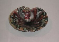 Millefiori Italy Art Glass Clam Shell Dish AshTray Trinket Tray Stretched Colors