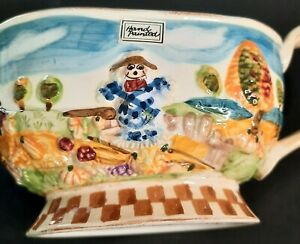 """WCL HAND PAINTED Ceramic GLAZED Gravy Boat COUNTRY SCARE CROW FARM 10""""X4""""X4"""""""