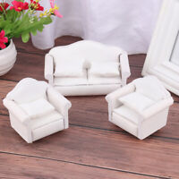 1:12 Dollhouse Miniature White Wooden Sofa Cushions Kit Dollhouse FurnitureJ mi