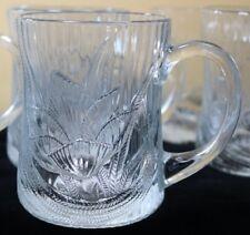 Arcoroc Canterbury Crocus Clear Glass Mugs 10 oz Textured Ribbed Set of 9
