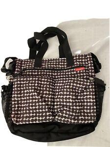 Skip Hop Duo Signature Diaper Bag Brown Geometric Design Stroller Straps Zip Up
