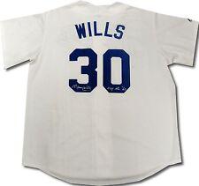 "Los Angeles Dodgers Maury Wills SIGNED BASEBALL JERSEY BECKETT COA ""MVP NL 62"""