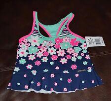 NEW! Girl's ZeroXposur Tankini top size 6 floral navy swim wear SUMMER
